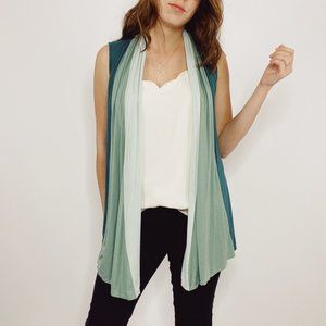 Lori Goldstein Green Color Block Drape Vest